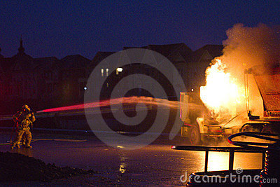 Truck on fire, Markham ON, Cathedraltown Editorial Stock Image
