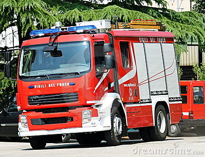truck firemen during a fire extinguishing Editorial Stock Image