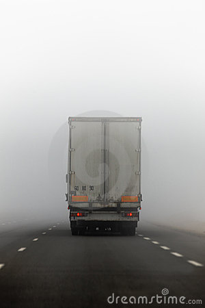 Truck and fog