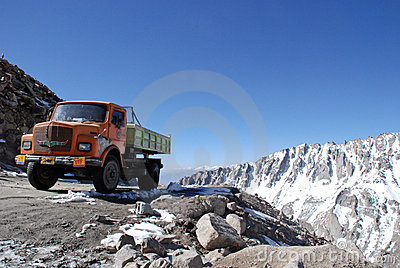 Truck on the highest motorable road Editorial Photo