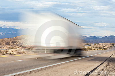 Truck on a highway in the desert