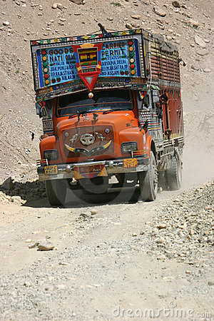 Truck on Ladakh tracks Editorial Photography