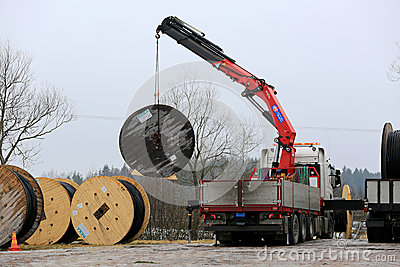 Truck Mounted Crane Unloads Cable Drums Editorial Stock Photo