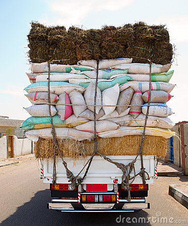 Truck overloaded bags