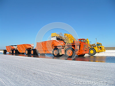 Truck on saline factory