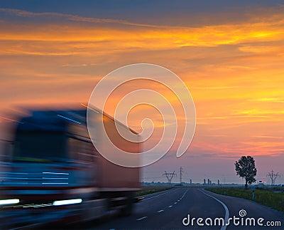 Truck at sunrise
