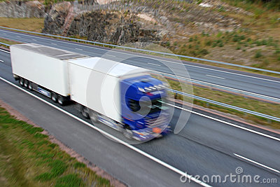 Truck Trailer in Full Speed