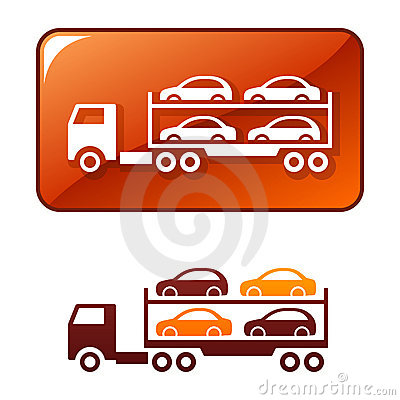 Truck transporting the cars. Vector icon