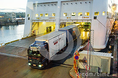 Truck unshipping from cruise boat Editorial Image