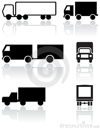 Truck or van symbol vector set.