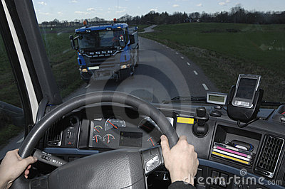 Truck view through windscreen