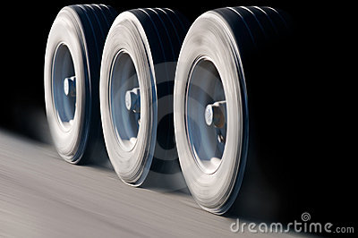 Truck wheels in motion