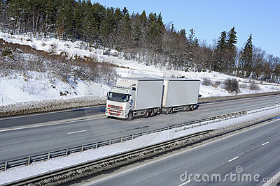 Trucking in snowy winter