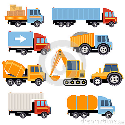 Free Trucks And Tractors Set Flat Style Royalty Free Stock Photo - 56601985