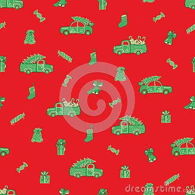 Trucks, cars, Christmas gifts and candies pattern. Vector Illustration