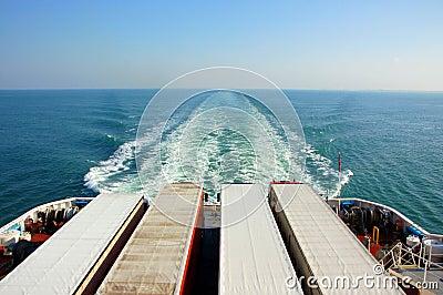 Trucks on a ferry