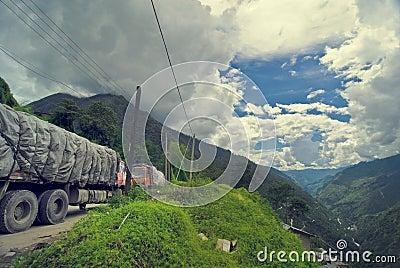 Trucks on mountain road