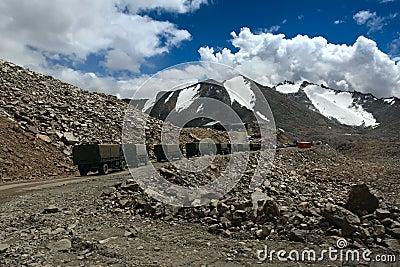 Trucks on mountain road. Ladakh. India