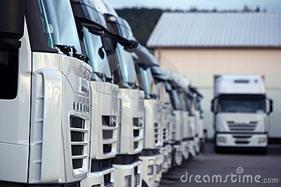 Trucks parked in depot