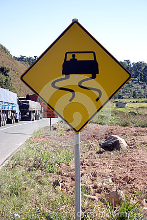 Trucks and road sign