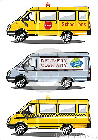 Trucks school bus, delivery, taxi