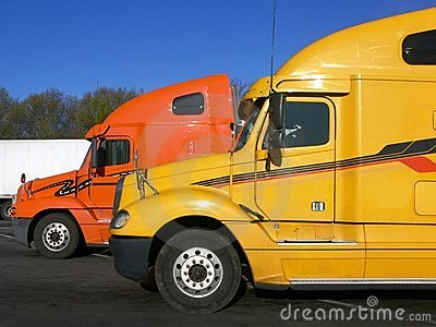 Trucks: side view of two