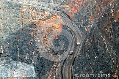Trucks in Super Pit gold mine Australia