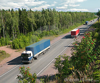 trucks and traffic on country highway