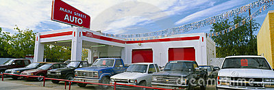 Trucks in used car lot Editorial Image
