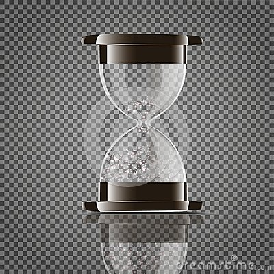 Free True Transparent Sand Hourglass Isolated On White Background. Simple And Elegant Sand-glass Timer. Sand Clock Icon 3d Royalty Free Stock Photo - 105707445