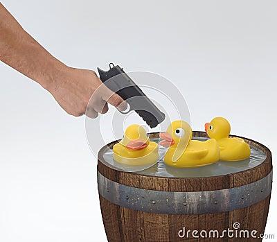 Trumman duckar skytte