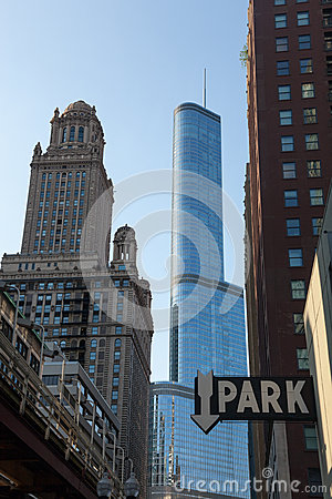Trump Hotel towers over downtown Chicago Editorial Photography