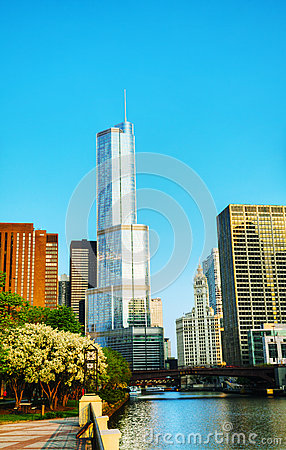 Trump International Hotel and Tower in Chicago, IL in morning Editorial Photo