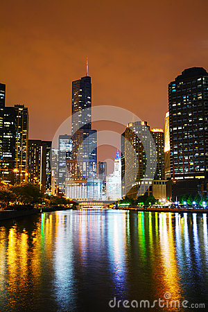 Trump International Hotel and Tower in Chicago, IL in the night Editorial Stock Photo