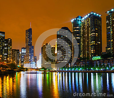Trump International Hotel and Tower in Chicago, IL in the night Editorial Image