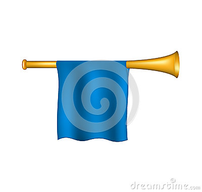 Trumpet with blue flag