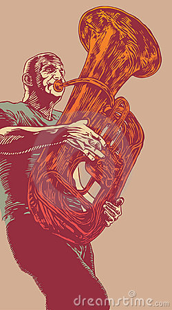 Trumpet in graphic style