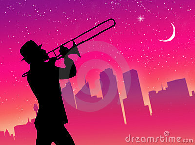 Trumpet player in the city