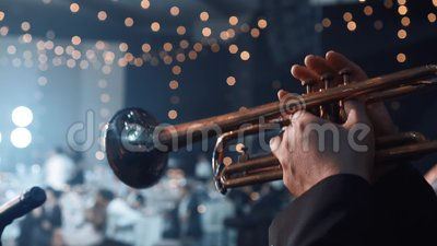 Trumpet player. Trumpeter hands playing brass music instrument close up. Close up of trumpet players fingers working the. Trumpet player. Trumpeter hands playing stock video footage