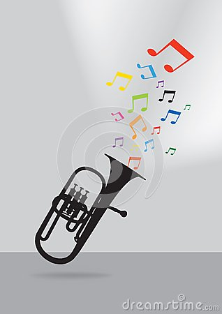 Trumpet silhouette on gray background