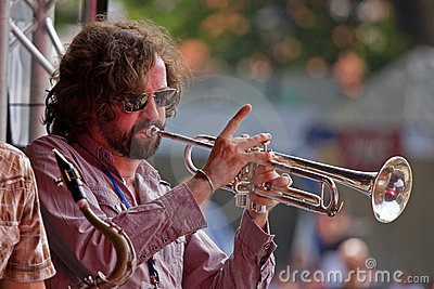 Trumpet on Stage Editorial Stock Photo