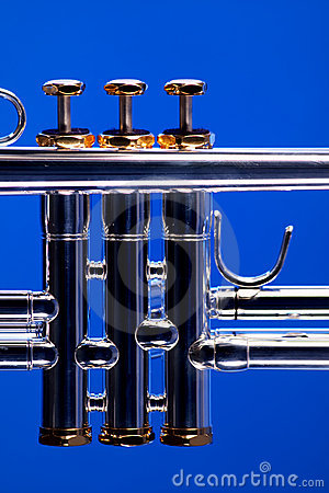 Trumpet Valves on Blue