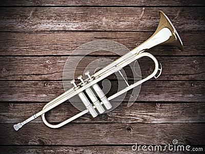 Trumpet on wood