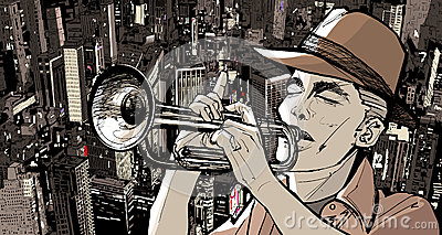 Trumpeter over a cityscape background
