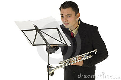Trumpeter and sheet music
