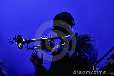 Trumpeter on stage Editorial Stock Image