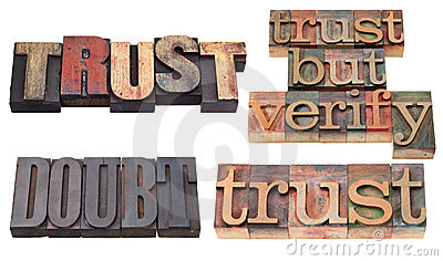 Trust and doubt  in letterpress type