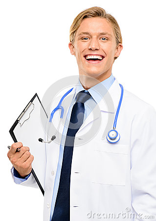 Trusted young Doctor isolated on white background
