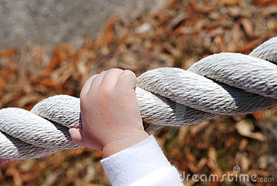 Trusting hands on a rope