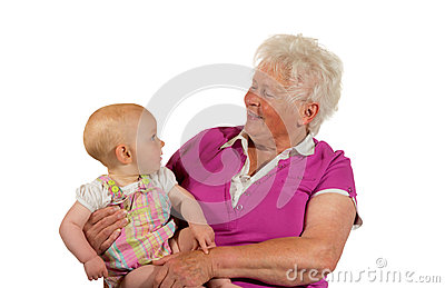 Trusting young baby with Grandma